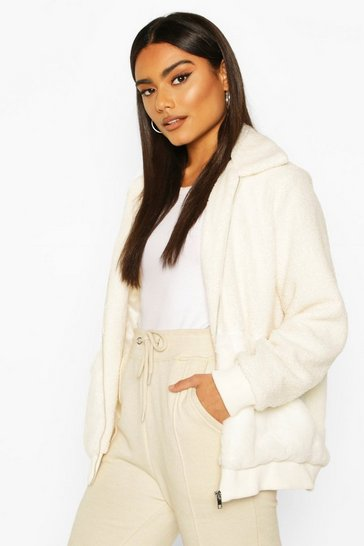 Ivory white Teddy Faux Fur Bomber Jacket