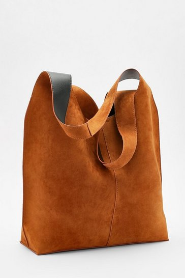 Tan brown Suedette Slouch Tote Bag