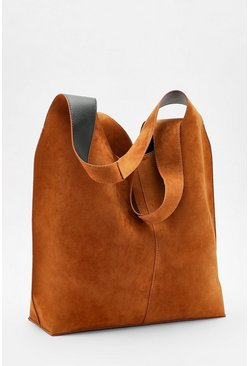 Tan brown Suedette Slouch Hobo Day Bag
