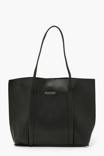 Black Textured PU Soft Tote Bag
