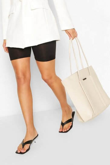 Ivory white Textured PU Soft Tote Bag