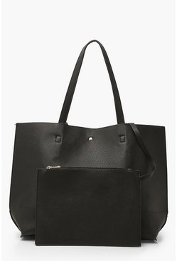 Black Textured PU Tote & Tablet Bag