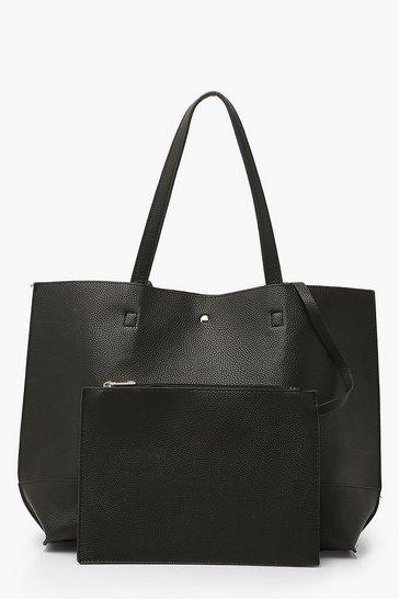 Black Textured PU Tote & Tablet Bag