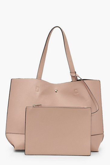 Blush pink Textured PU Tote & Tablet Bag