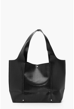 Black Lizard Croc PU Slouchy Tote Bag