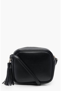 Black PU Zip Around Cross Body Bag With Tassel
