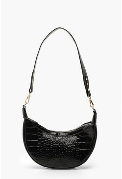 Black Vinyl Croc Underarm Bag With Wide Strap
