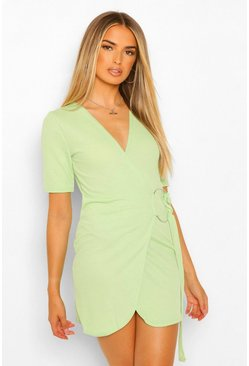 Green Wrap Mini Dress With Metal Ring Feature
