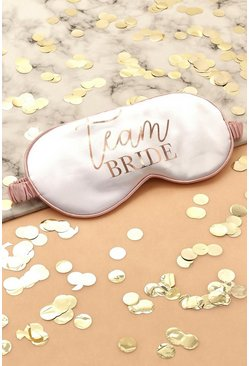 Cream white Team Bride Satin Sleep Mask