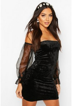 Black Off The Shoulder Velour Mini Dress With Organza Sleeves