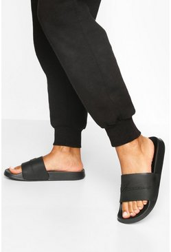 Black Embossed Woman Sliders
