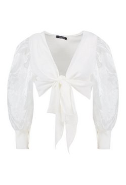 White Tie Front Organza Sleeve Cropped Blouse