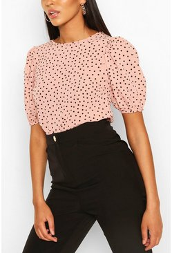 Blush pink Volume Sleeve Polka Dot Blouse