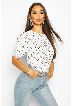 Ivory white Volume Sleeve Polka Dot Blouse