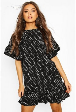 Black Frill Sleeve & Hem Polka Dot Shift Dress