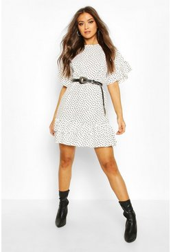 Ivory white Frill Sleeve & Hem Polka Dot Shift Dress
