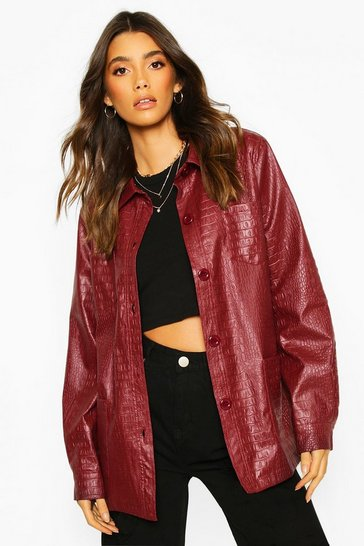 Wine Faux Croc Leather Look Belted Trench Coat