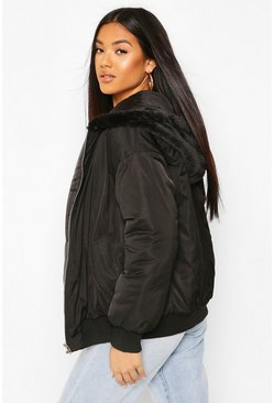 Black Faux Fur Lined Bomber Hooded Jacket