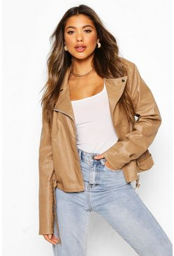 Stone beige Croc Faux Leather PU Moto Jacket