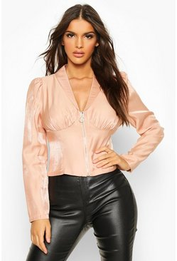Pink Zip Front Corset Detail Shimmer Blouse