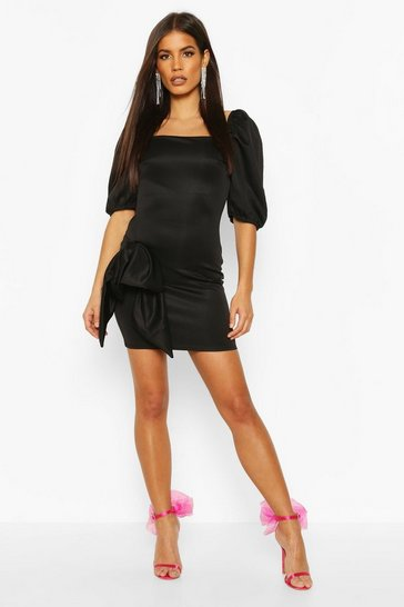 Black Recycled Bow Detail Puff Mini Dress