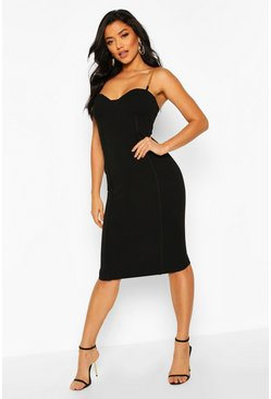 Black Chain Strap Cup Front Bodycon Dress