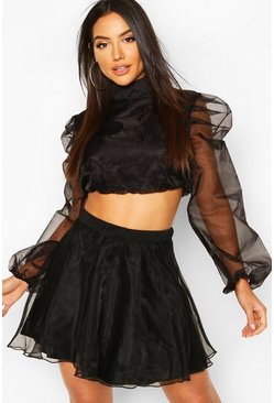 Black Organza Lined Skater Skirt
