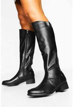 Black Flat Knee High Boots