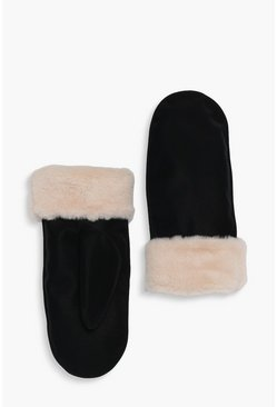 Black Suedette Faux Fur Lined Mittens
