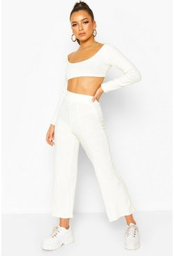 Ivory white Knitted Long Sleeve Crop Top & Culotte Co-ord