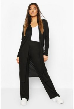 Black Soft Rib Cardigan And Trouser Co-Ord
