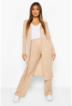 Stone beige Soft Rib Cardigan And Trouser Co-Ord