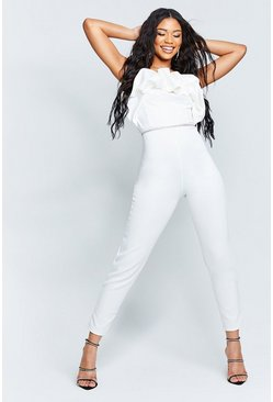 Ivoor white Gerecyclede Strapless Jumpsuit Met Ruches