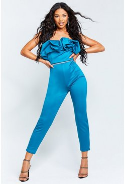 Teal green Recycled Bandeau Jumpsuit with Scrunched Ruffle