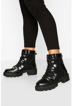 Black Lace Up Cleated Sole Hiker Boots