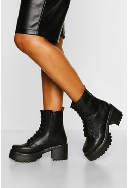 Black Block Heel Lace Up Hiker Boots