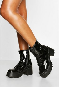 Black Patent Block Heel Chunky Hiker Boots