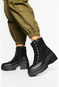 Black Croc Panel Chunky Hiker Boots