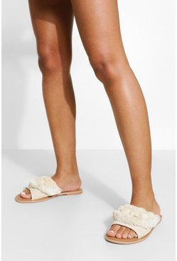 Natural beige Wide Fit Pom Pom Frill Sliders