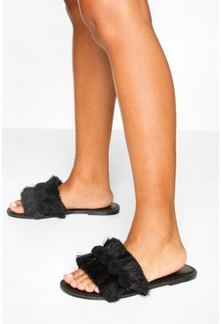 Black Wide Fit Pom Pom Fringe Detail Sliders