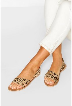 Wide Fit Leopard Leather 3 Strap Sandals