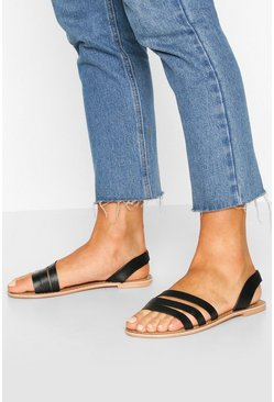 Black Wide Fit Leather 3 Strap Sandals