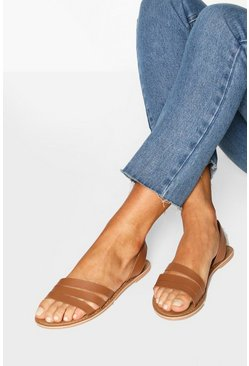 Tan brown Wide Fit Leather 3 Strap Sandals