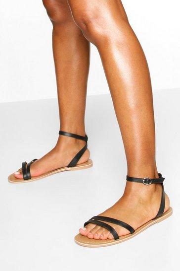 Black Wide Fit Leather 2 Part Sandals