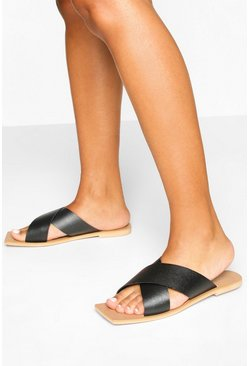 Black Wide Fit Leather Cross Strap Square Toe Sliders