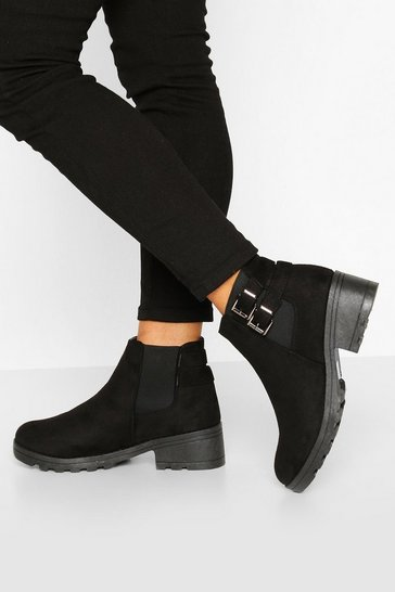 Black Wide Fit Buckle Detail Block Heel Chelsea Boots