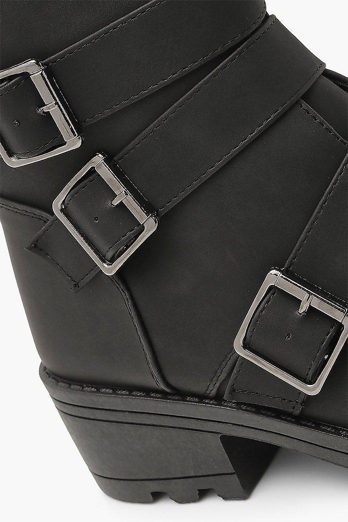 Biker boots med tre spännen, blockklack och bred passform