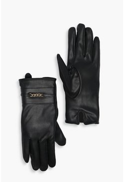 Black PU Glove With Chain Detail