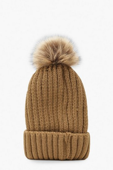 Camel beige Rib Knit Beanie With Large Faux Fur Pom