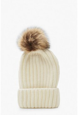 Cream white Rib Knit Beanie With Large Faux Fur Pom